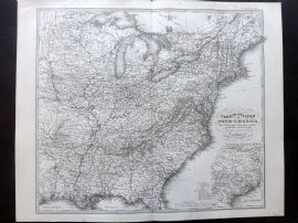 Stieler 1874 Antique Map. Nord-America, North America, West